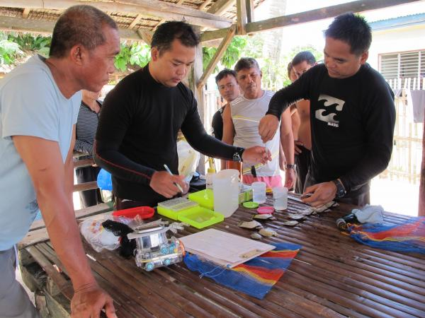 Samples of reef fish are processed by marine biologists while locals observe (© Dacles)