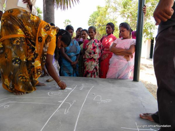 Women drawing village road during the initial land use sketch making for GIS mapping