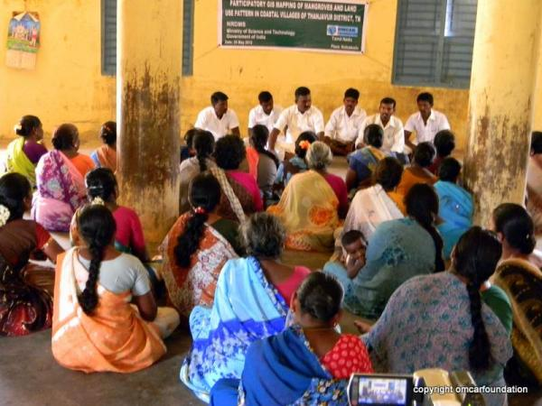 Village level meeting for creating participatory GIS map of the coastal villages