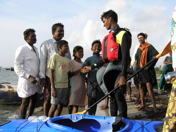 Fisher children greeted during the start of 600km solo sea kayak expedition for marine conservation awareness in southeast coast of India