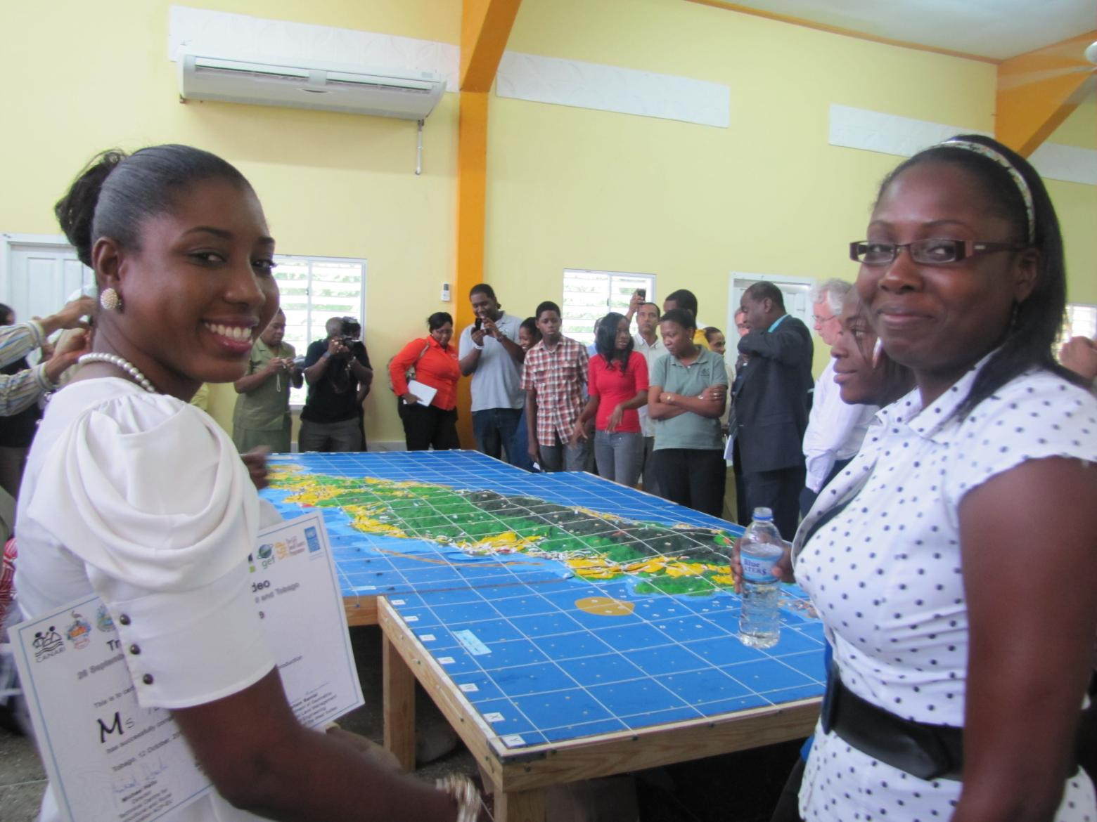 Proud participants at the handover ceremony for the completed 3D Model of Tobago. Copyright CANARI.